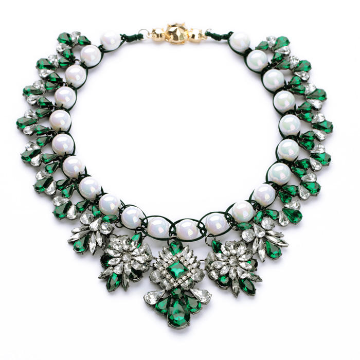 xl00720 Pearl Statement Jewelry Women Big Fashion Chunky Ruby Emerald Resin Diamond Choker African Beaded Necklace Popular