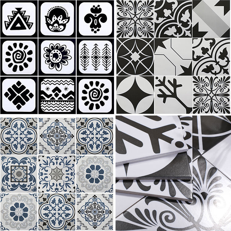 Mediterranean Style Pvc Self Adhesive Removable Waterproof Tile Wall Stickers