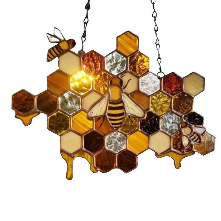 Color Beehive Pendant Wall Hanging Crafts Bee Honeycomb Sun Catcher Bee Day Handmade Decoration