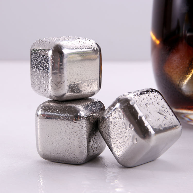 Wholesale Customized Stainless Steel Ice Cube with Logo Drink Whiskey Stone