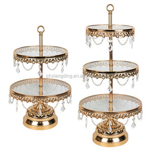 Dessert Cupcake Pedestal/Display/Plate Crystal Beads Acrylic Cake Stands For Wedding Cakes
