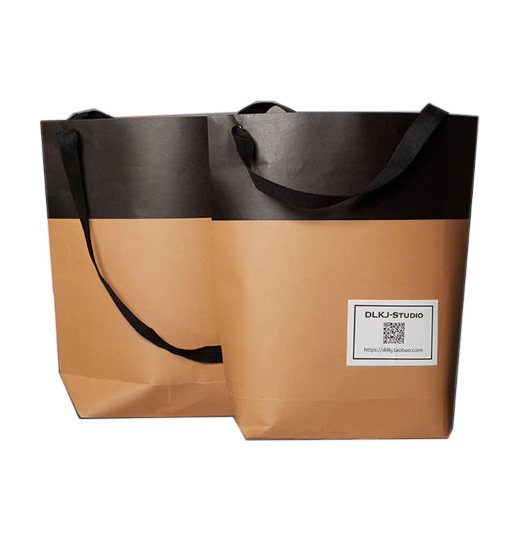 customized simple cloth packaging printing logo brown kraft paper bag with handle