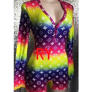 RUIYI Cheap Wholesale Rainbow onesies women&39s sleepwear new pajamas 2020 sleepwear women designer onesies Lady night wear