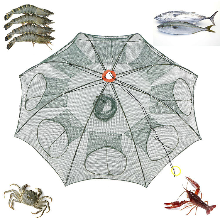 6/8/12/16 Holes Folded Portable Hexagon Fishing Net Crayfish Fish Automatic Trap Shrimp Carp Catcher Cages Mesh Nets CrabTrap