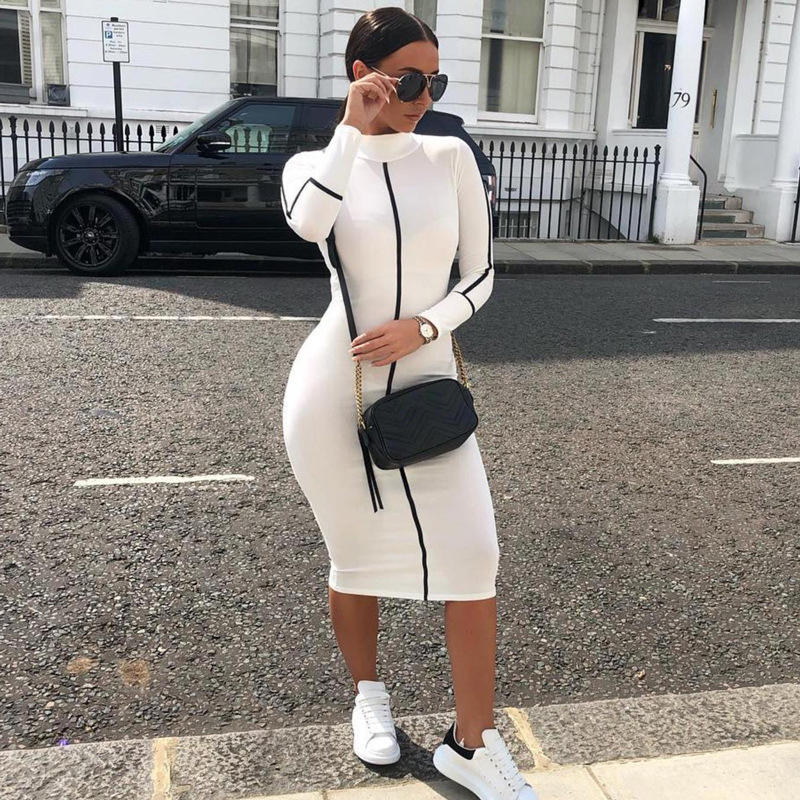 New arrival fall clothing for women long sleeves striped patchwork turtleneck maxi bodycon dress