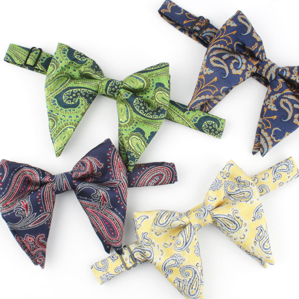 100% Microfiber Woven Floral Butterfly Bowtie Big Size Wedding Bow Ties