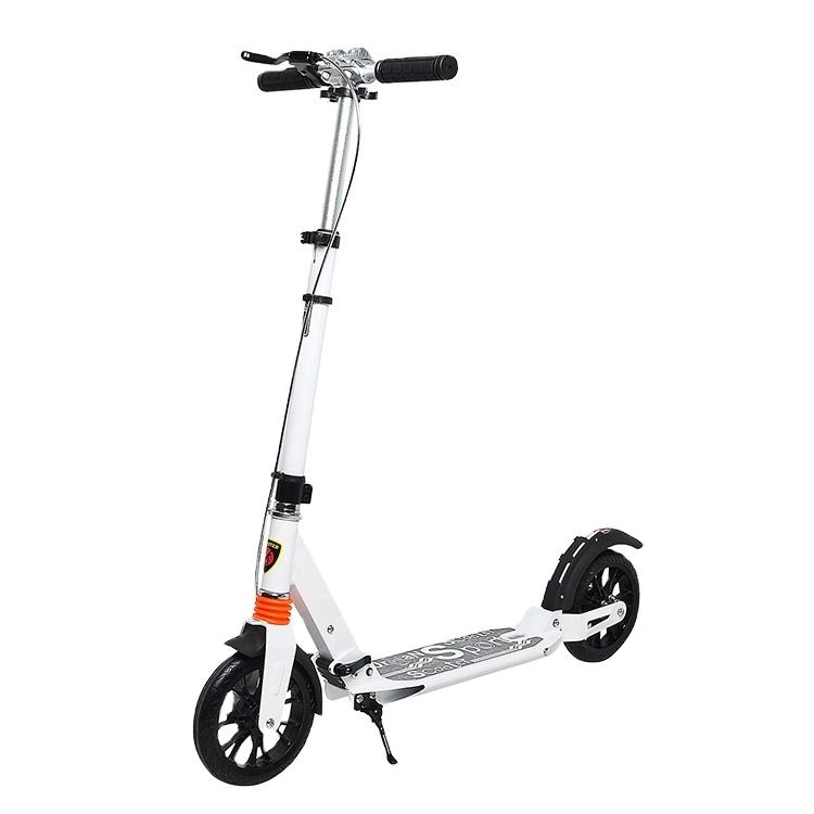 Foldable 2 Big 200mm PU Wheels Aluminum Adult City Kick Scooter