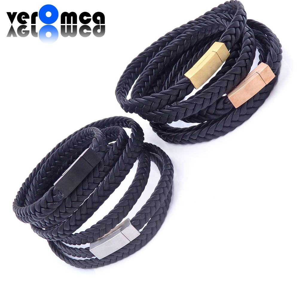 VEROMCA Wholesale Stainless Steel Jewelry Men's Black Woven Leather Bracelet Classic Logo Making Jewelry