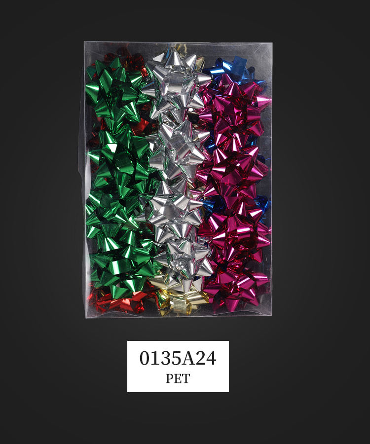 Latest arrival Colorful Simple Design Birthday Gift Packing Metallic Star Bow