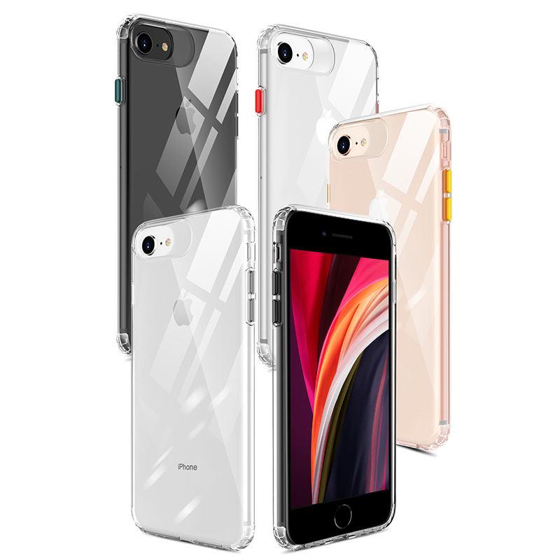 Cojín de aire esquina sonido convertir agujero transparente suave cubierta TPU para iPhone SE de 2020 con chapado Color botón