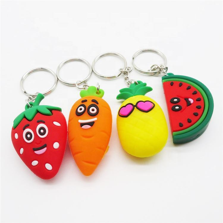Women Bag Charms Small colorful fruit strawberry orange Cute Plush Fruit Doll Keychain