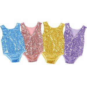 Infant Baby Sequin Romper Newborn Girls V-back Sleeveless Bodysuit Little Girls Solid Color Leotard Toddler Boutique Cloth Set