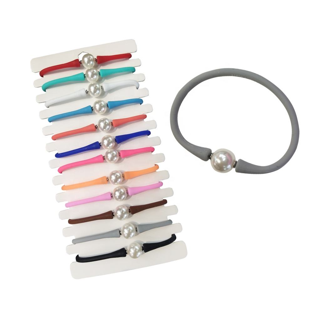 New design fashion jewelry round pearl braceletlet colorful silicon hand bracelets