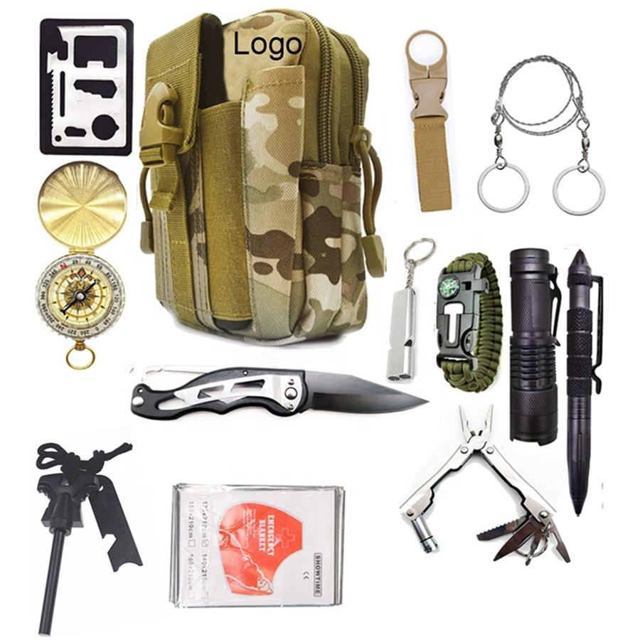 13 in 1 survival kit Set Outdoor Camping Travel Multifunction First Aid SOS EDC Emergency Survival Kit For Wilderness