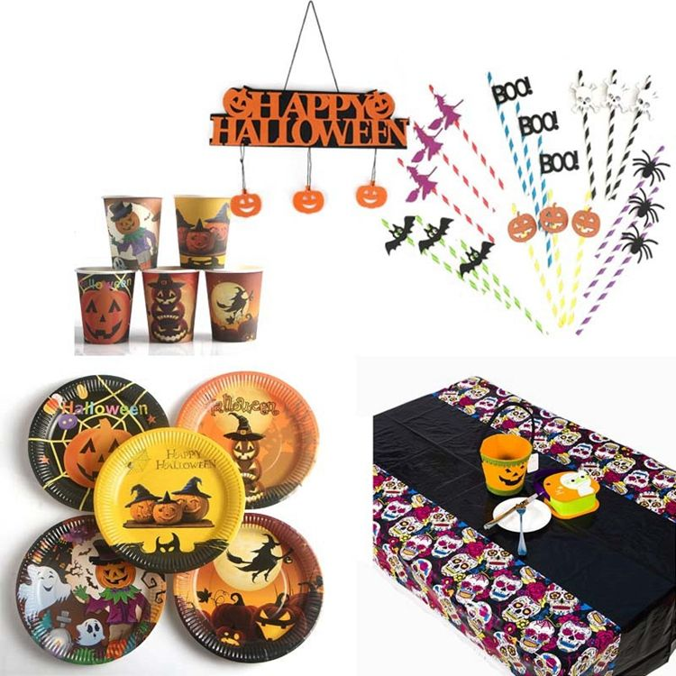 YOT Halloween Pumpkin Party Supplies Tablecloths Straws Paper Plates Paper Cups Halloween Decoration