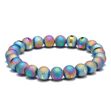 2019 Sell 8mm multicolored agate frosted electroplate semi-gem bracelet DIY jewelry wholesale