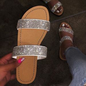 Hot Selling Sandals Female Roman Style Shining Bright Diamond Word Sandals European And American Large Size Ladies Flat Slippers