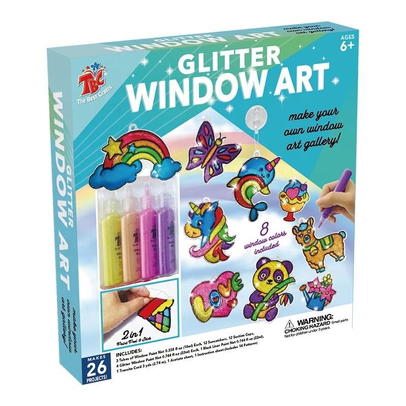 Amazon Vernice di Colore di Marca TBC Multi colori Trans Lucid Glitter Finestra Kit di Vernice per la Finestra di arte Window cling <span class=keywords><strong>Suncatcher</strong></span>