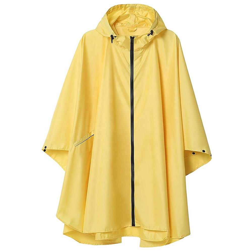 ZUJA Fashion Design Zipper Closure Poncho Hoodie Waterproof PVC Rain Coat