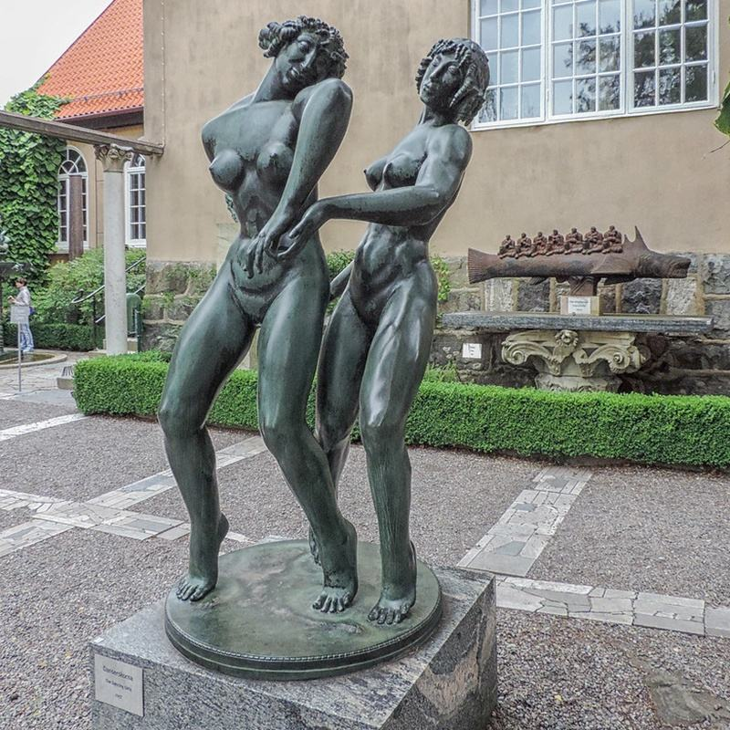 Life Size Bronze Statue Two Dancing girls Outside decoration