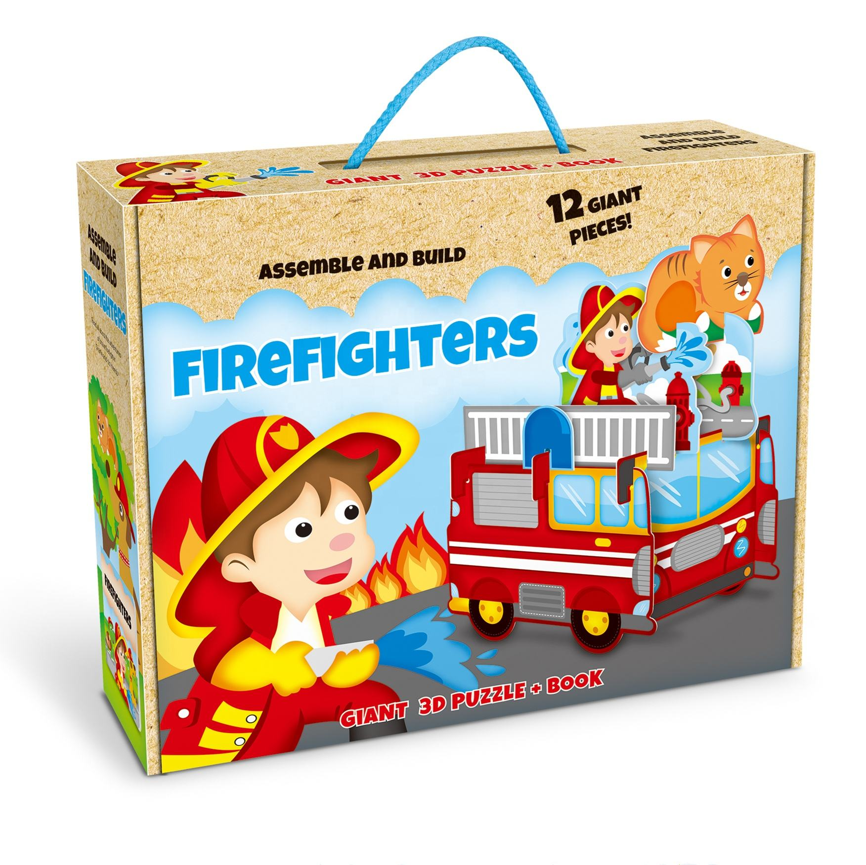 3D DIY paper puzzle educational kids assemble build toys hot sale firefighters kitchen animal with book gift for children