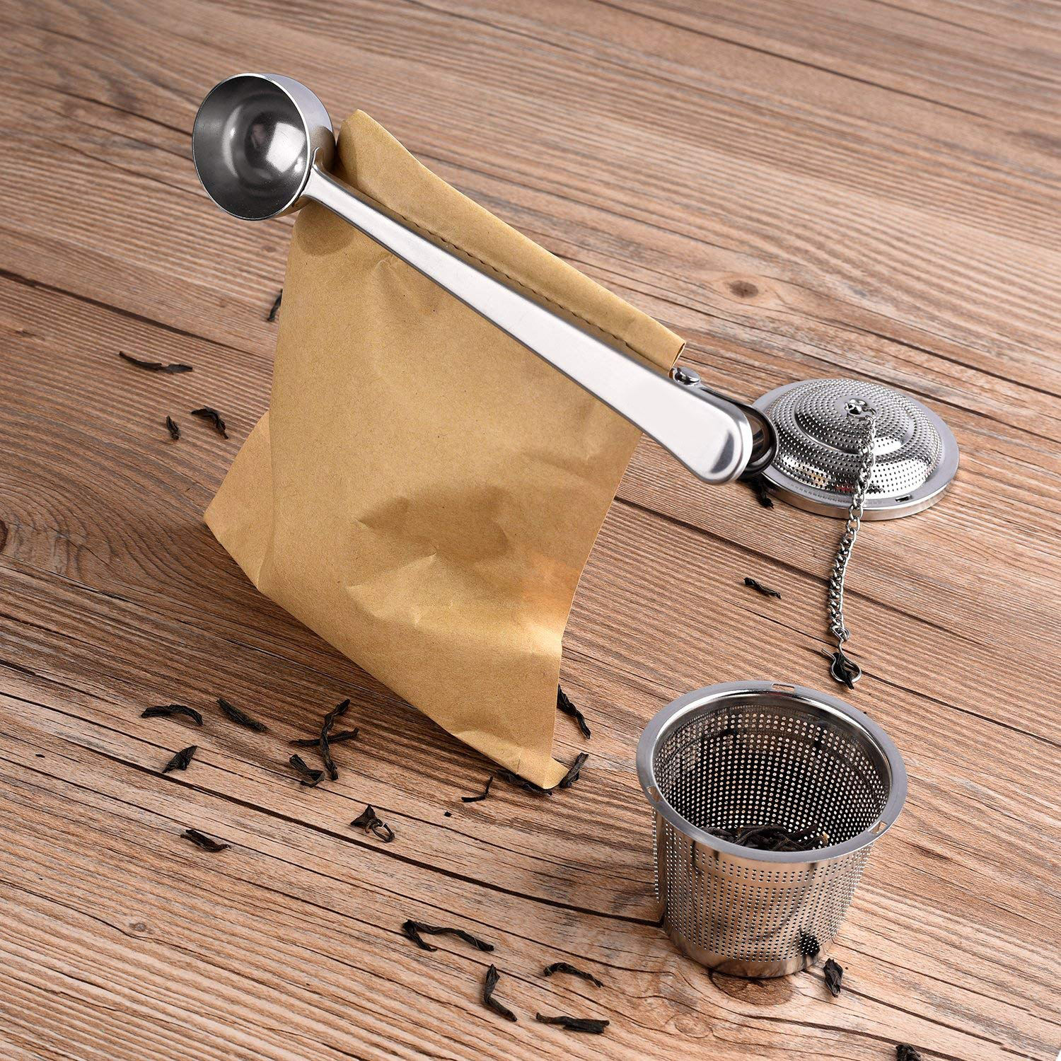 Thee Infuser Set <span class=keywords><strong>Metalen</strong></span> Scoop Met Zak Clip <span class=keywords><strong>Kleine</strong></span> Mesh Thee-ei