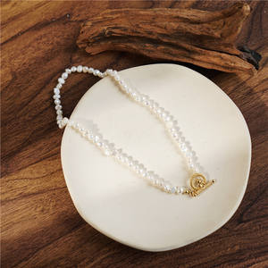 Handmade natural pearl necklace bracelet set Baroque pearl 18K gold chain freshwater pearl choker necklace high quality