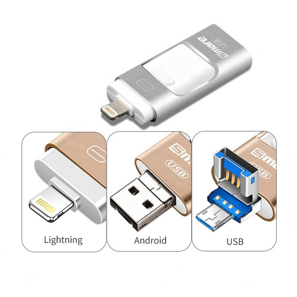 Ceamere CM01947 3 In 1 OTG USB 3.0 Flash Pen Drives Sticks 16GB 32GB 64GB 128GB Pendrive OEM Logo Metal Custom USB Memory Stick