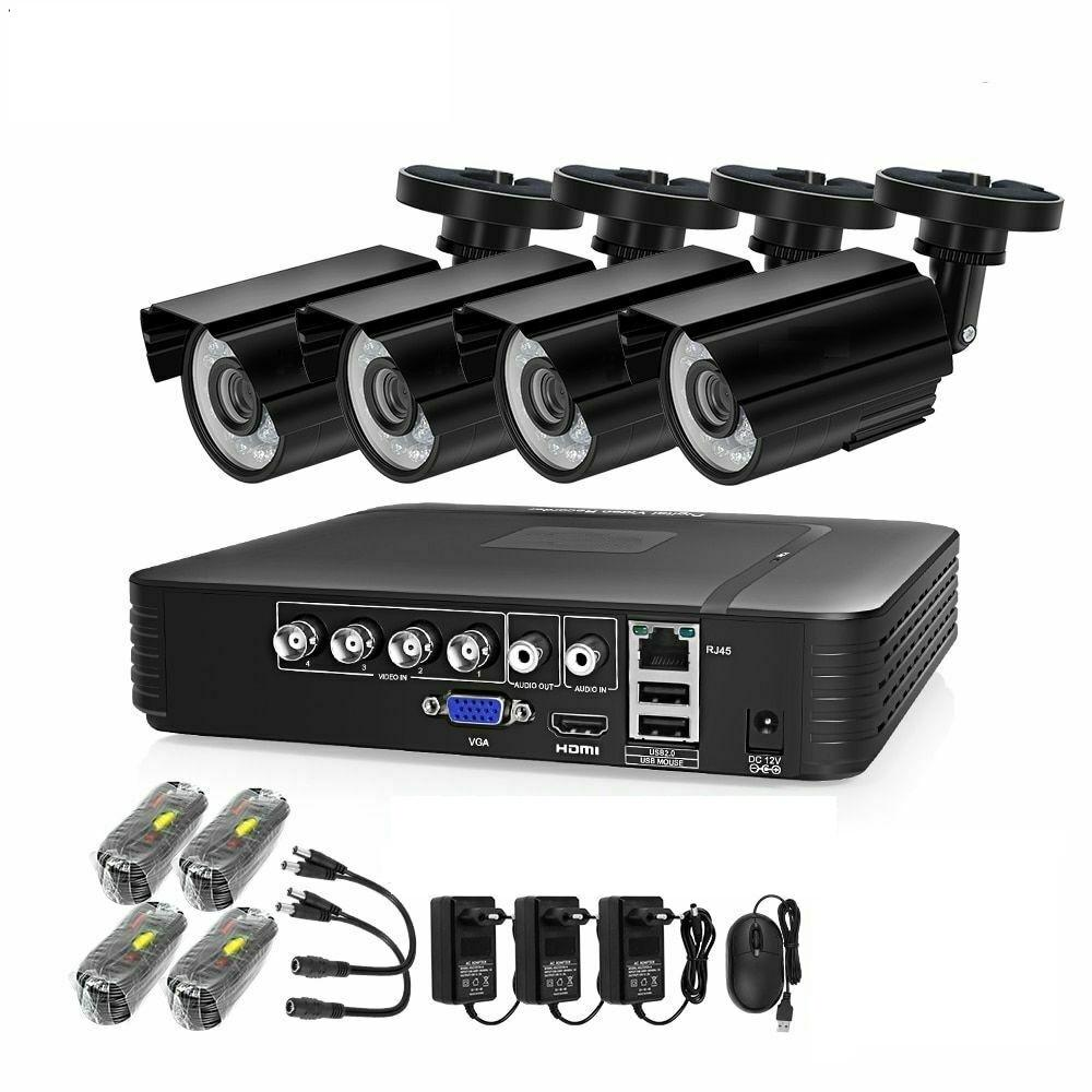 4CH 720P AHD DVR Video Security CCTV Camera System Video Surveillance Kit with HD Waterproof Bullet Cameras