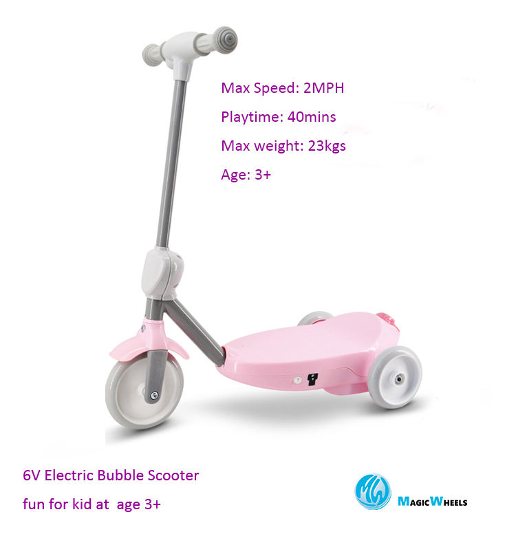 2020 hot sale kid scooter with fun bubbles 6V electric scooter