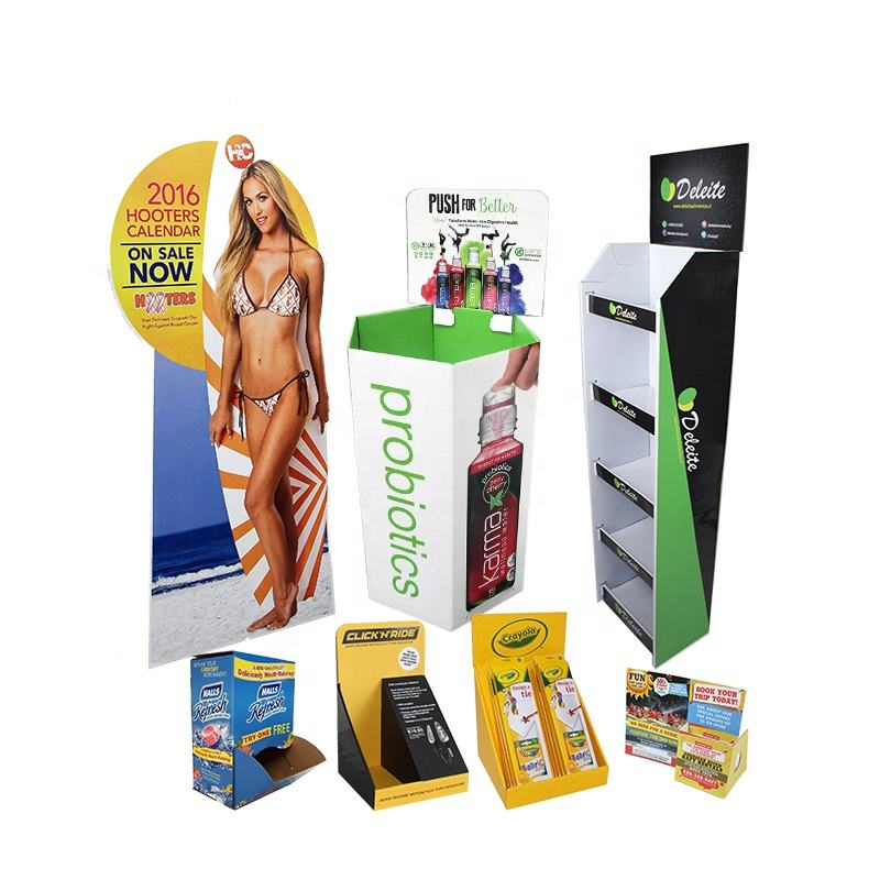 Reclame Kartonnen Display <span class=keywords><strong>Bin</strong></span> Gegolfd Custom Display Vloer Dozen Draagbare Gedrukt Pop Display Kartonnen Doos