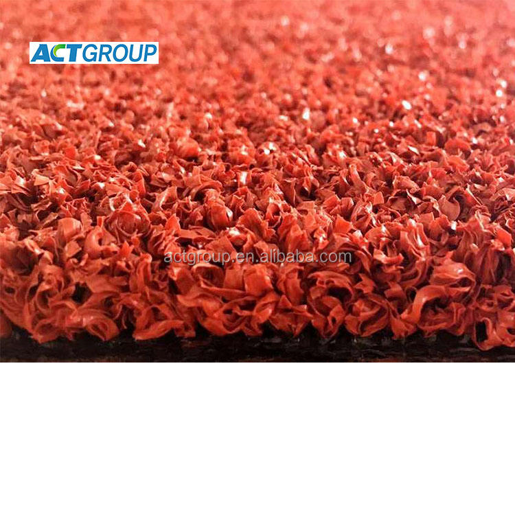Red color Artificial Turf Grass Lawn for running tracking, runway synthetic turf with sand infill