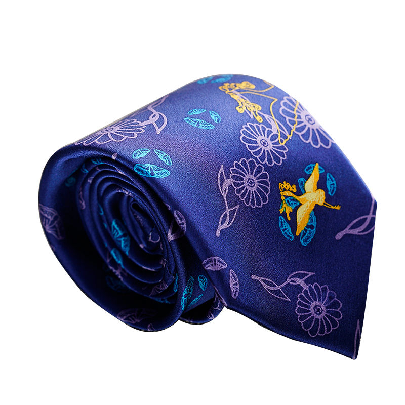 Men's Neck silk Gift Tie Tang Dynasty Golden Phonixes Silk Tie