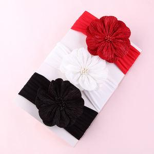 2019 Stretch nylon baby headband pure color chiffon flower baby headband hair accessories