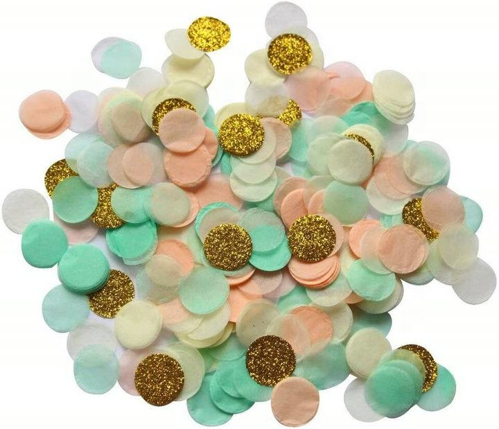 1 Inch Mint Peach Gold Glitter Throwing Wedding Confetti Party Decoration Ballons Party Decoration
