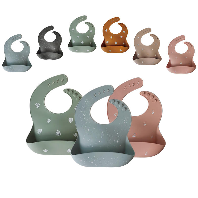 Custom New Printing Silicone Baby Bibs with Cather Waterproof Washable