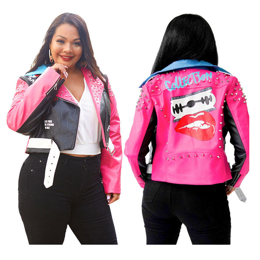 fashion contrast color printed zipper PU leather cool studded rivets biker women plus size jackets with belt