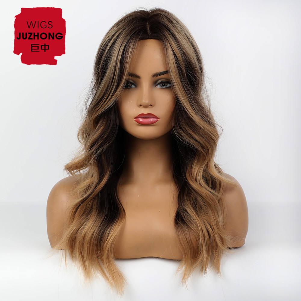 Synthetic Wig Brown Mixed Color Long Curly Hair Rose Intranet High Quality and Quality Wig