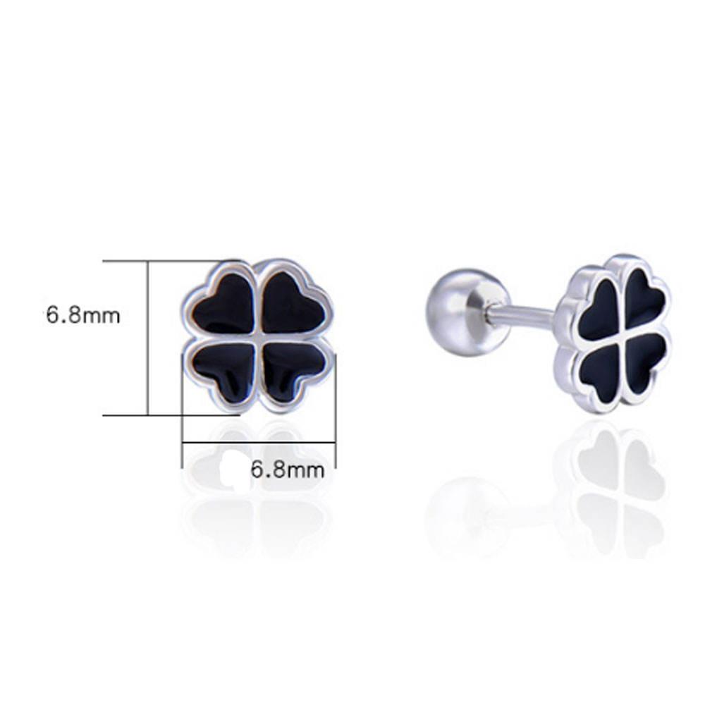 Solid 925 Sterling Silver Polished Enamel 3-Leaf Clover Childs Post Earrings 9mm x 8mm