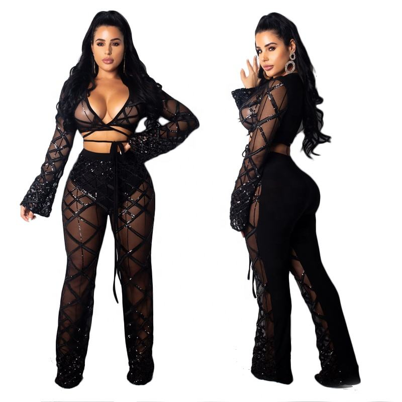 Sequin casual 2 piece women fashion black sexy clubwear