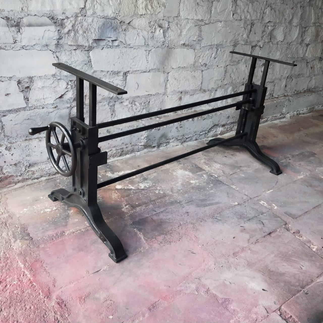 Cast Iron Crank Table LEGS, Industrial furniture adjustable table base