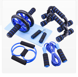 Hot Selling 7 In 1 Oefening Roller Abdominale Exerciser Fitness Apparatuur Push-Up Bar Jump Rope Hand Gripper En knie Pad