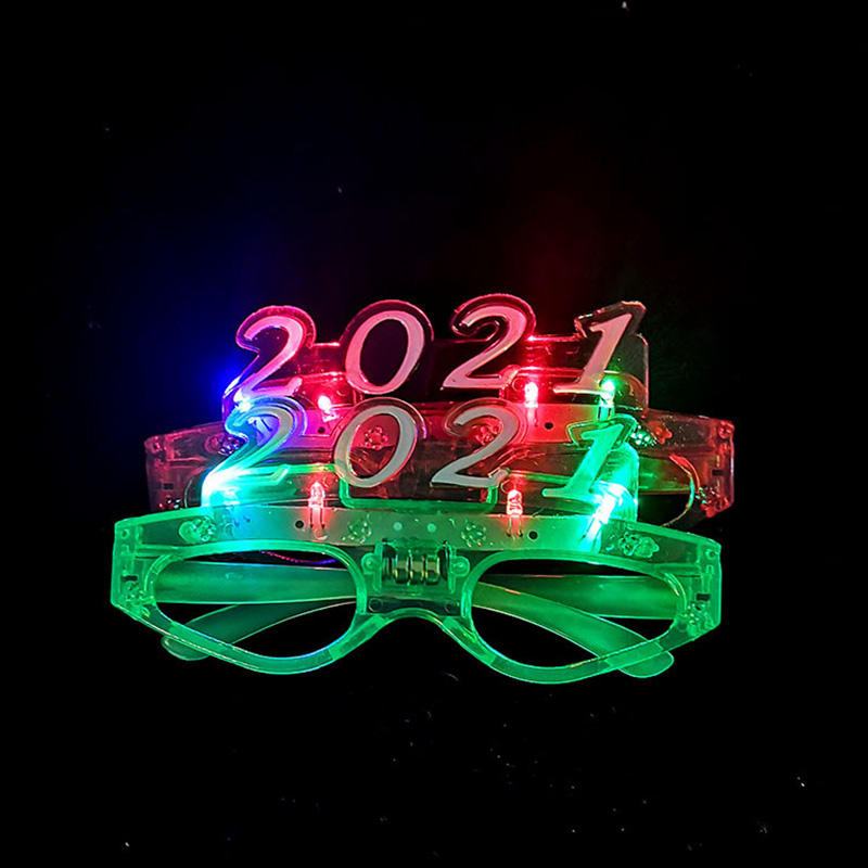 2021 Happy New Year Fluorescent Glasses Christmas Party Supplies Glow Flashing LED Light Flash Glasses For Christmas