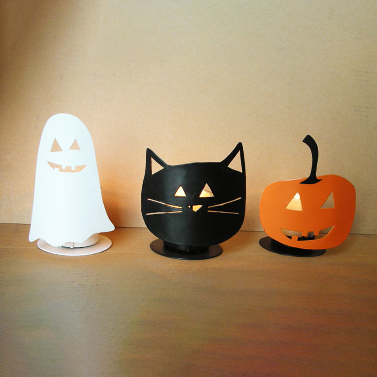Shadow Casting Metal Candle Tealight Holder Set Of 4 Witch Ghost Cat Pumpkin