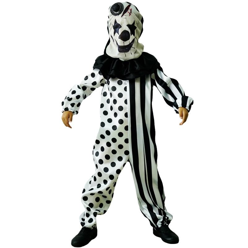 New Boy's Horror Clown Jumpsuit With Mask Halloween Carnival Party Boy's Evil Clown Suit Costume