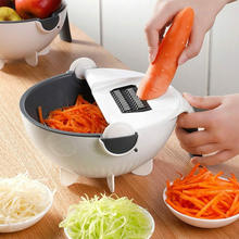 Magic Vegetable Cutter With Drain Basket 9 in 1 Multi-function Kitchen Veggie Fruit Shredder Grater Slicer Lowest Price Walmart