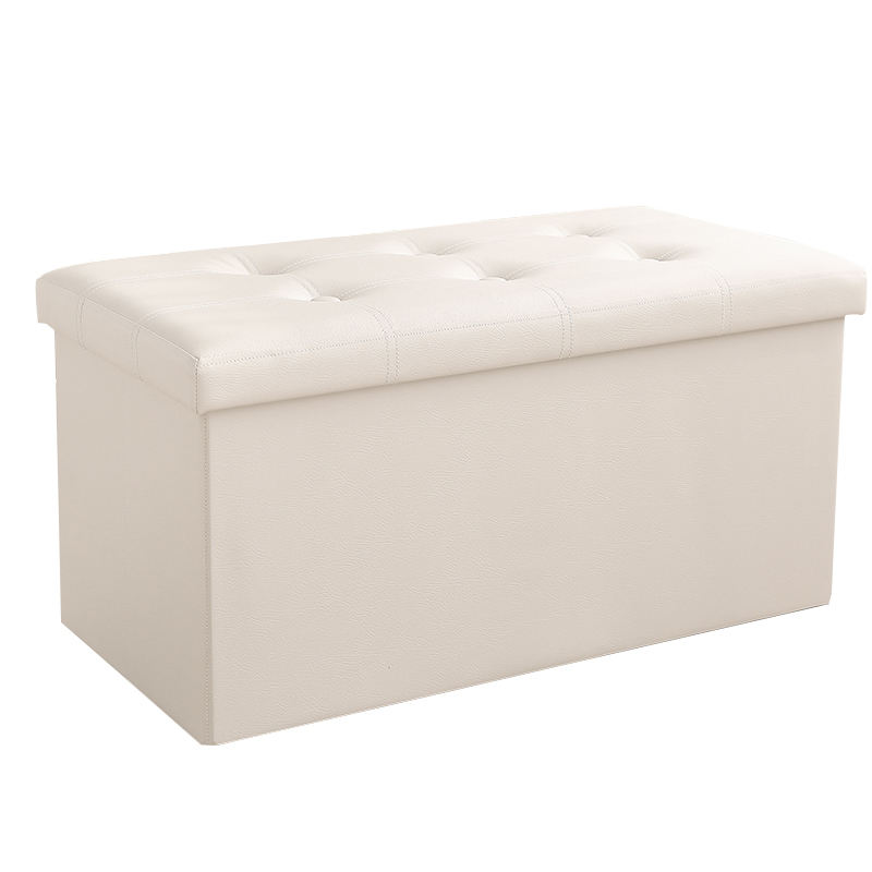 Folding Storage Ottoman Custom Large Cotton Linen Fabric Storage Ottoman Household Folding PU Artificial Leather Linen Shoes Storage Stool