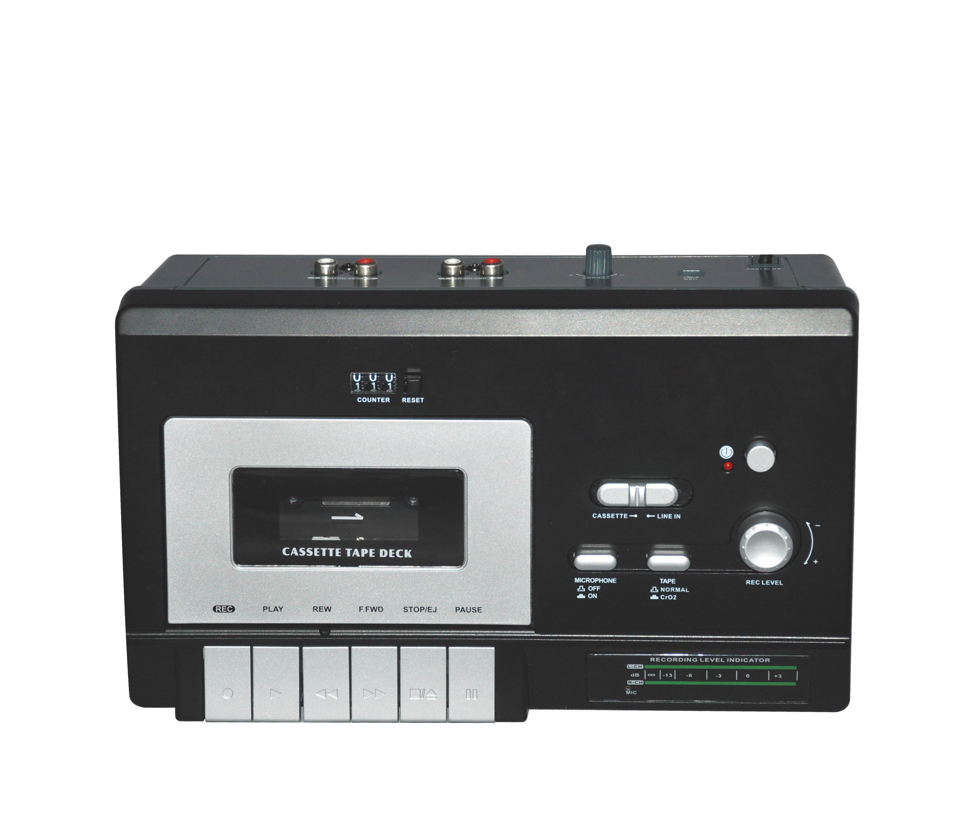 High Quality Portable music system w/ USB-PC Recording double tape turntable boombox audio cassette player recorder