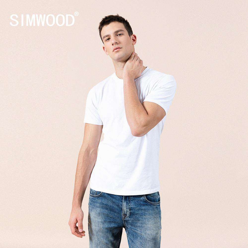 SIMWOOD 2020 summer new 100% cotton white t shirt men blank plain causal o-neck basic t-shirt male high quality tops