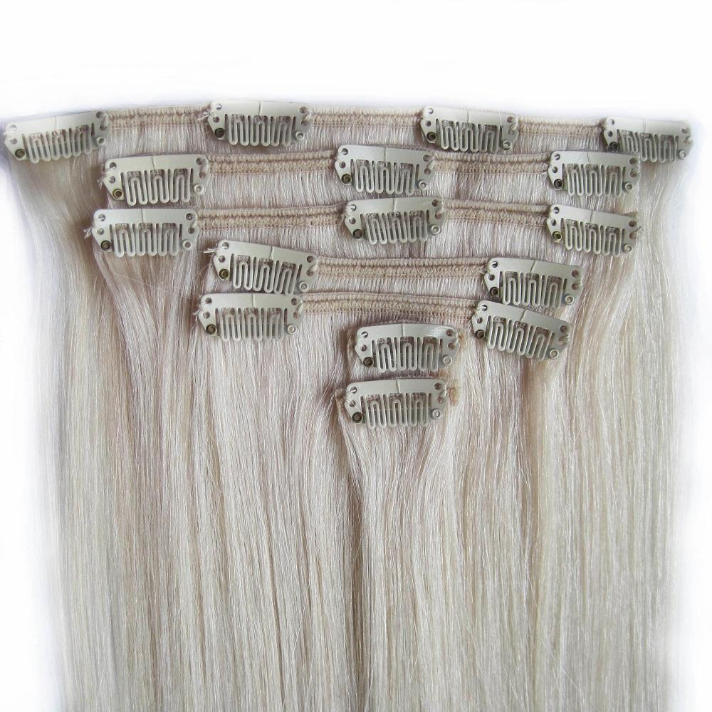 Top Quality Full End Good Texture Fashion Cheap double drawn human remy hair blonde clip in hair extensions